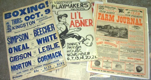 18: 6 Misc. Old Posters, Farm Journal, L'il Abner, etc.