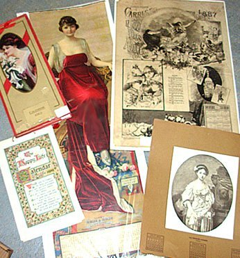 21: Lot of 8 Vintage Calendars, 1880s, early 1900s