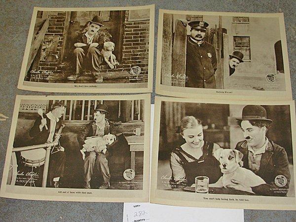 """283: 8 Charlie Chaplin Lobby Cards """"A Dog's Life"""""""