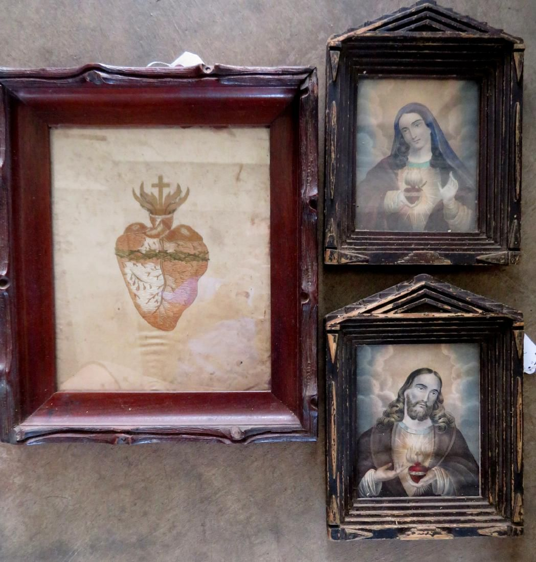 Grouping of three framed 19th century religious