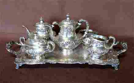 An ornate Gorham sterling silver 5 piece tea and coffee