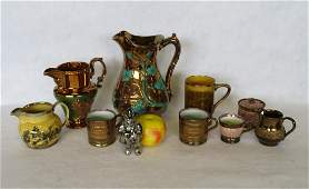 Grouping of mostly luster ware china including a hand
