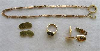 Grouping of marked gold jewelry including: A 14K gold