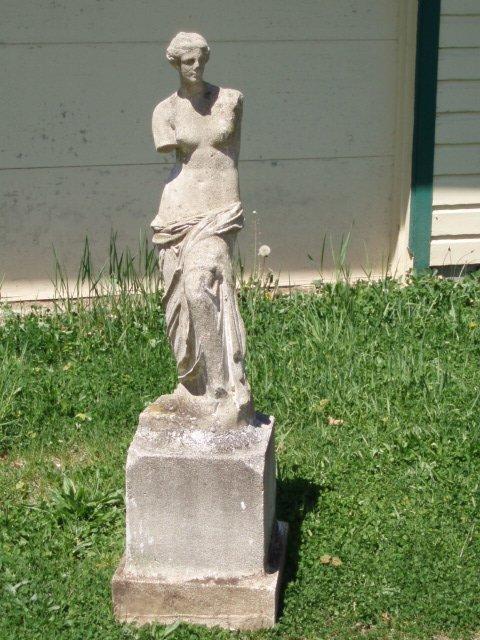 6: Early concrete Greek goddess garden statue on pedest