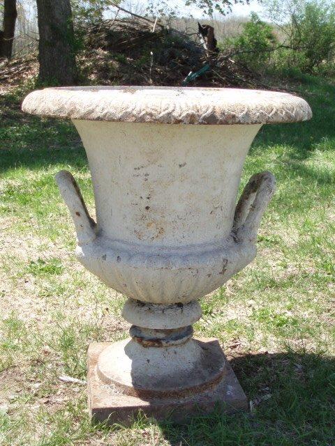 """9: 19th c. cast iron garden urn (28"""" high x 24"""" wide)"""