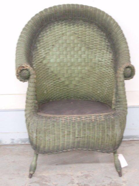 12: Fancy Victorian Wicker Chair w/rolled arms in origi