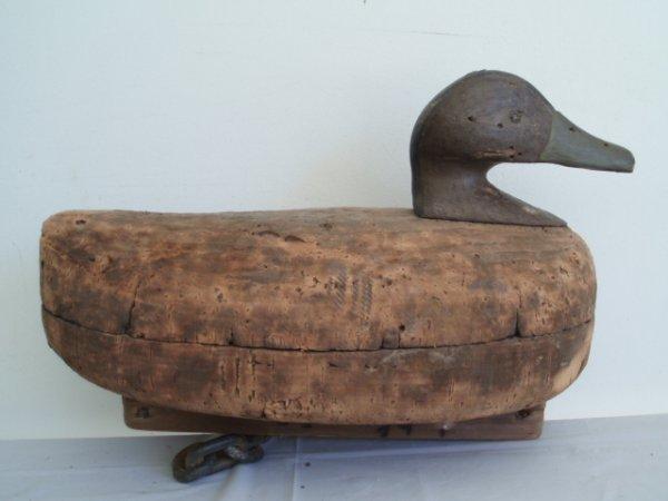 17: Two black duck cork decoys - John Boyle - Bellport,