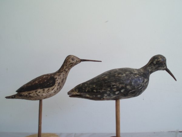23: Two circa 1950s snipe decoys in Dilley style