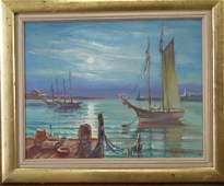 241A OB  sailboats at port  signed William Bradfor