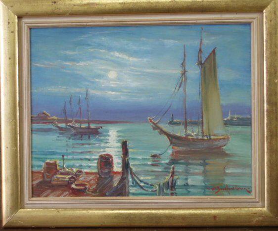 """241A: O/B - sailboats at port - signed """"William Bradfor"""