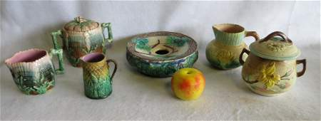 Grouping of 6 pieces of 19th century majolica