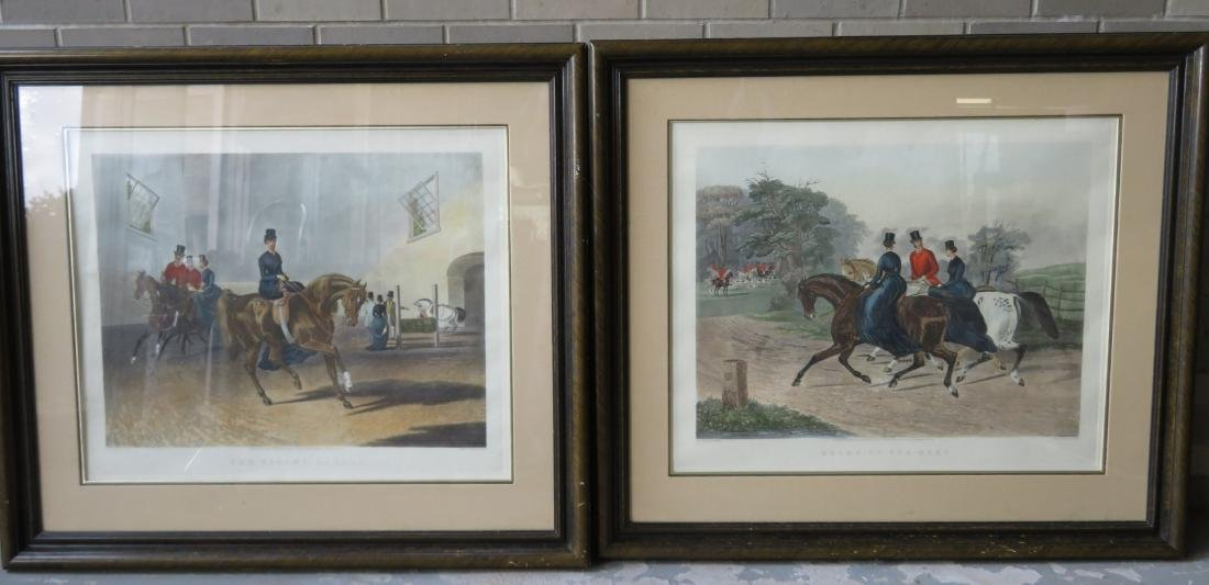 Two beautiful large folio, hand colored, English horse