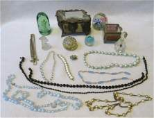 Grouping of lady's dresser articles and costume jewelry