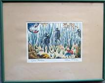 Hand colored lithograph entitled Sea Horses and