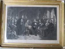 """Large folio engraving entitled """"Washington Irving And"""