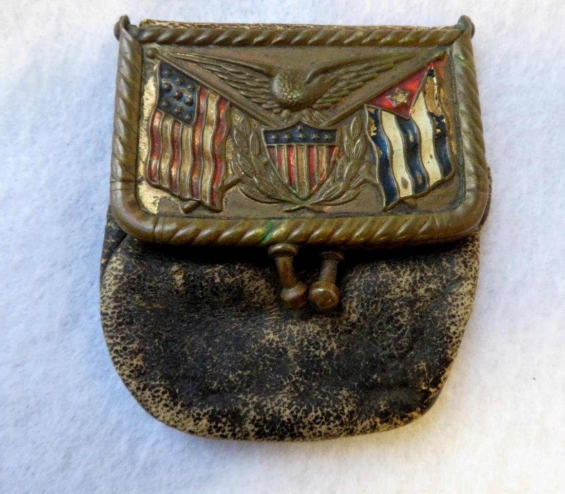 Civil War patriotic purse + 1864 2 cent coin. - 2