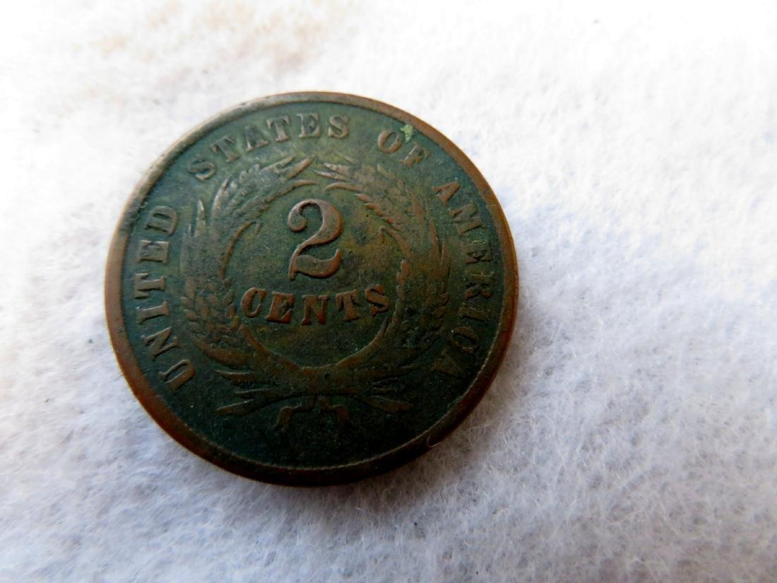 Civil War patriotic purse + 1864 2 cent coin. - 6