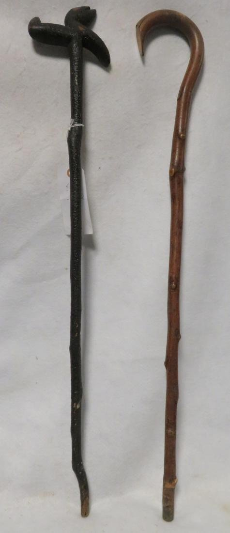 Two vintage wooden walking sticks. One in hickory and t - 2