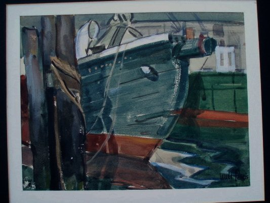 503: Crayon drawing boat in yard. Signed Walt Peters. I
