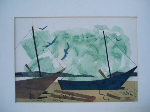 504: W/C and papercut. Ships, birds and sea cut from pa