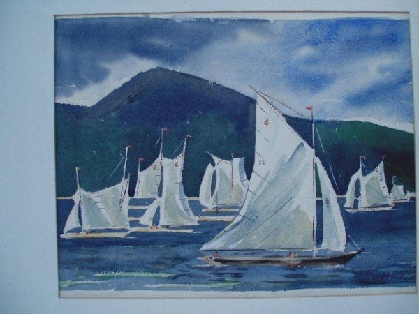 "505: W/C sailboats signed Walt Peters. ""The Regatta"". 1"