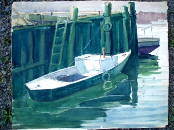 506: W/C fishing boat at pier signed Walt Peters. 22.5