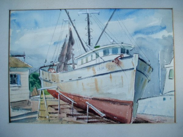 509: W/C Fishing boat at dock. signed Walt Peters. 9.75