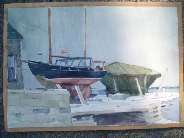 510: W/C Boat on dock. 14.5 x 20.5. Unsigned.
