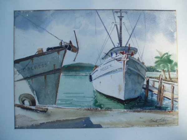 511: W/C Boats at dock signed Wlat Peters. 10.75 x 15.