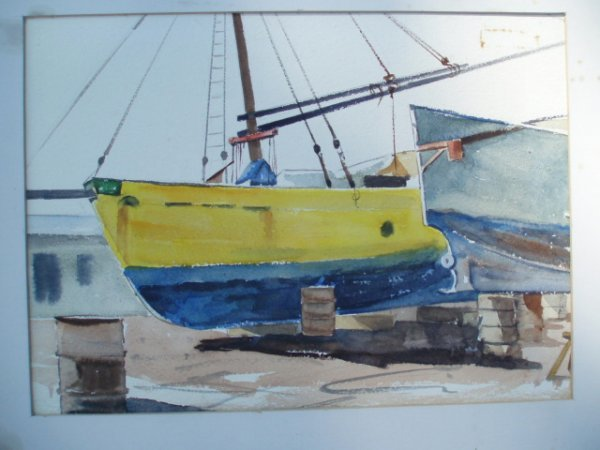 """512: W/C yellow boat. Unsigned. Signed on reverse """"Yell"""
