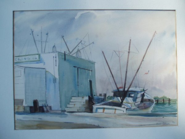 513: W/C fishing boat next to building. Signed Walt Pet