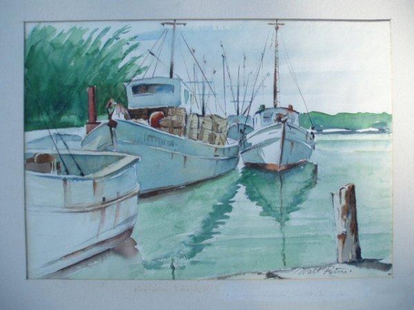 514: W/C shrimp boats at100 dock. Signed Walt Peters. 1