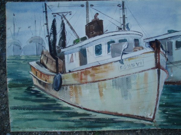 516: Two unsigned W/C fishing boats. 10 x 14 & 9 x 12.