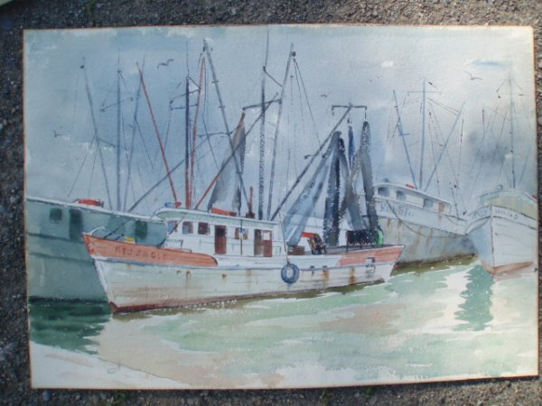 518: W/C Red Eagle fishing vessel plus ships. Unsigned.