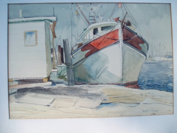 519: W/C fishing boat at port. Signed Walt Peters. Appr