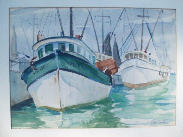 520: W/C fishing boats. Signed Walt Peters. 10 x 14. Si