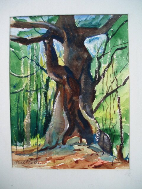 521: Two w/c trees. Signed Walt Peters. 7 x 9, 10 x 14.