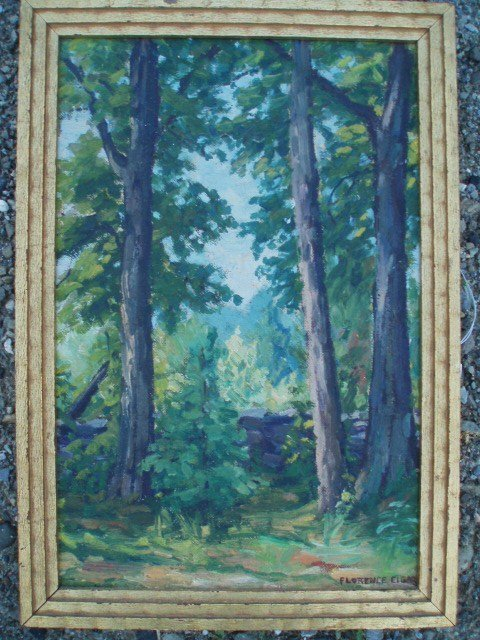631: O/B landscape signed Florence Elger, Woodstock NY.