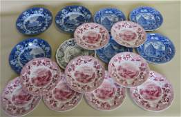 A grouping of 17 Staffordshire transferware plates