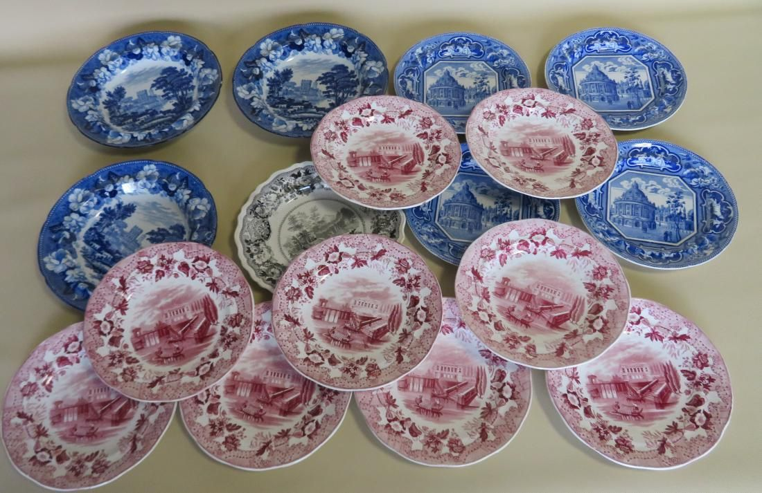 A grouping of 17 Staffordshire transferware plates,