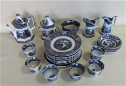 Grouping of 28 pieces of Staffordshire black and white