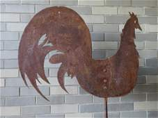Folk art rooster sheet metal silhouette weathervane
