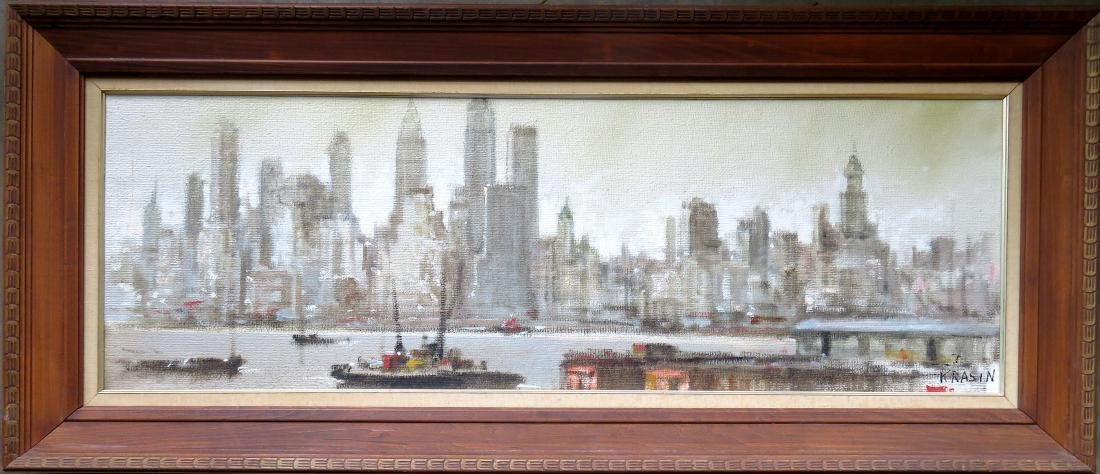 Oil on burlap, cityscape of New York City, signed