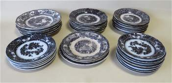 Grouping of 32 pieces of black/white Staffordshire