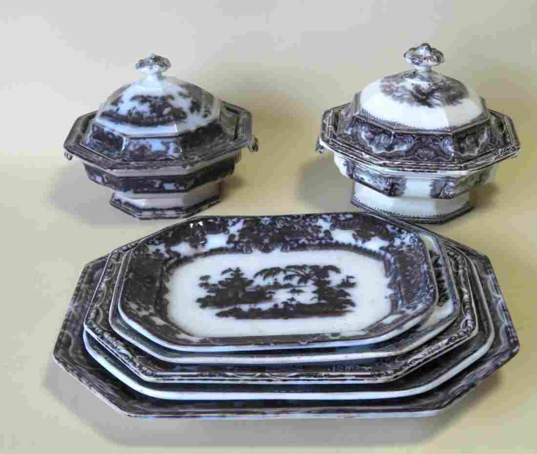Grouping of 2 black/white Staffordshire transferware