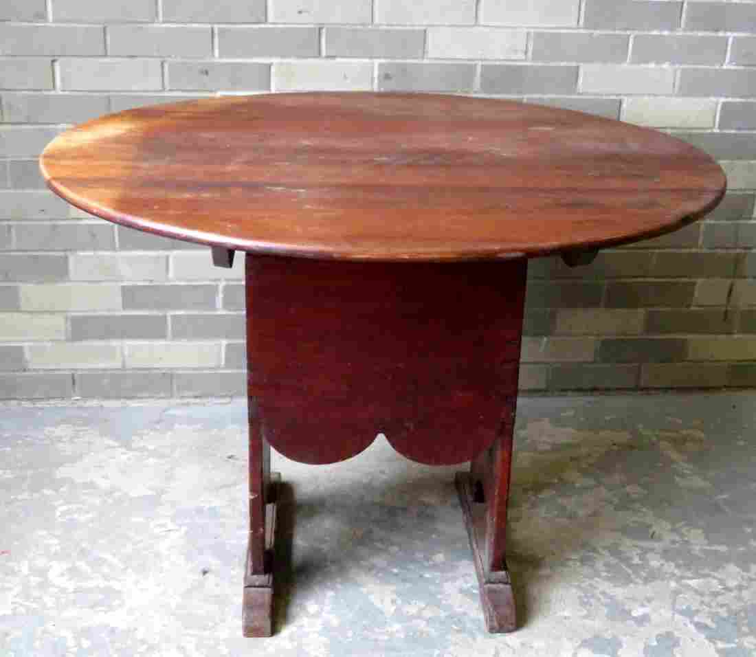 Early shoe foot chair table, round top, shaped apron,