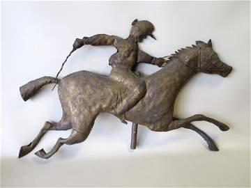 Folk-art rolled zinc race horse with jockey weathervane
