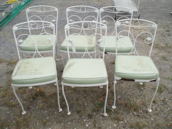 4: Six Iron Outdoor Dining Room Chairs ca. 1960