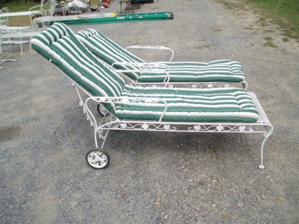 5: Two Cast Iron Adjustable Lounge Chairs w/Cushions, W
