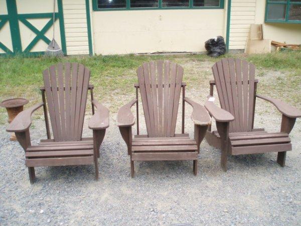 6: Three Modern Adirondack Lawn Chairs - damage to arm